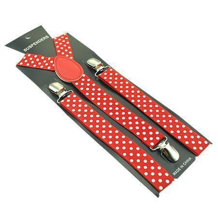 red polka dot suspenders