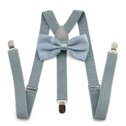 silver bow tie and suspenders set