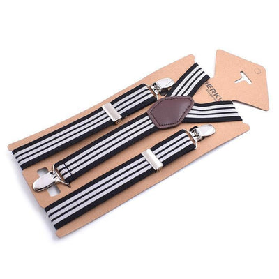 black striped suspenders