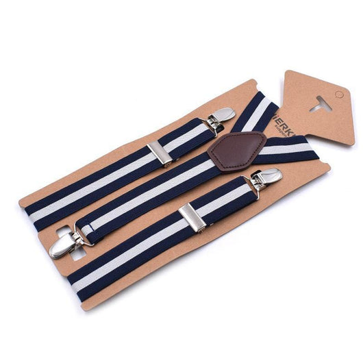 navy blue striped suspenders