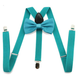 turquoise bow tie and suspenders set