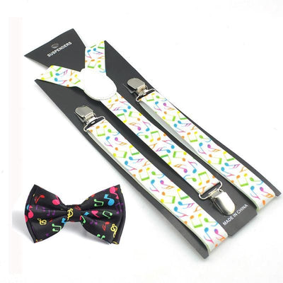 white rainbow music suspenders