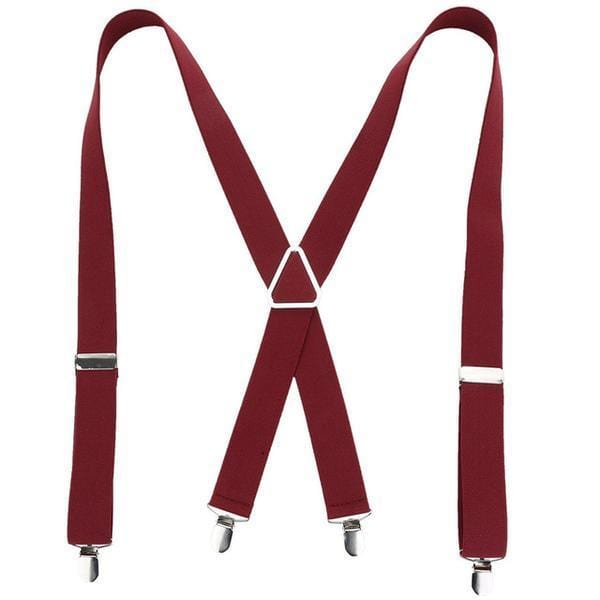 wine red x back suspenders