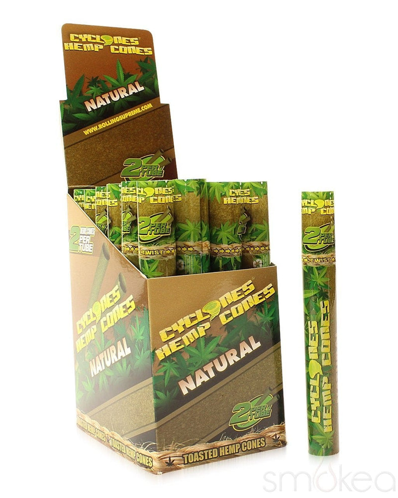 Cyclones Natural Hemp Pre-Rolled Cone Blunt Wraps (2-Pack) - SMOKEA