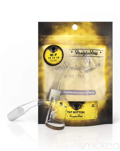 Honeybee Herb Yellow Line 45° Fat Bottom Quartz Banger - SMOKEA®