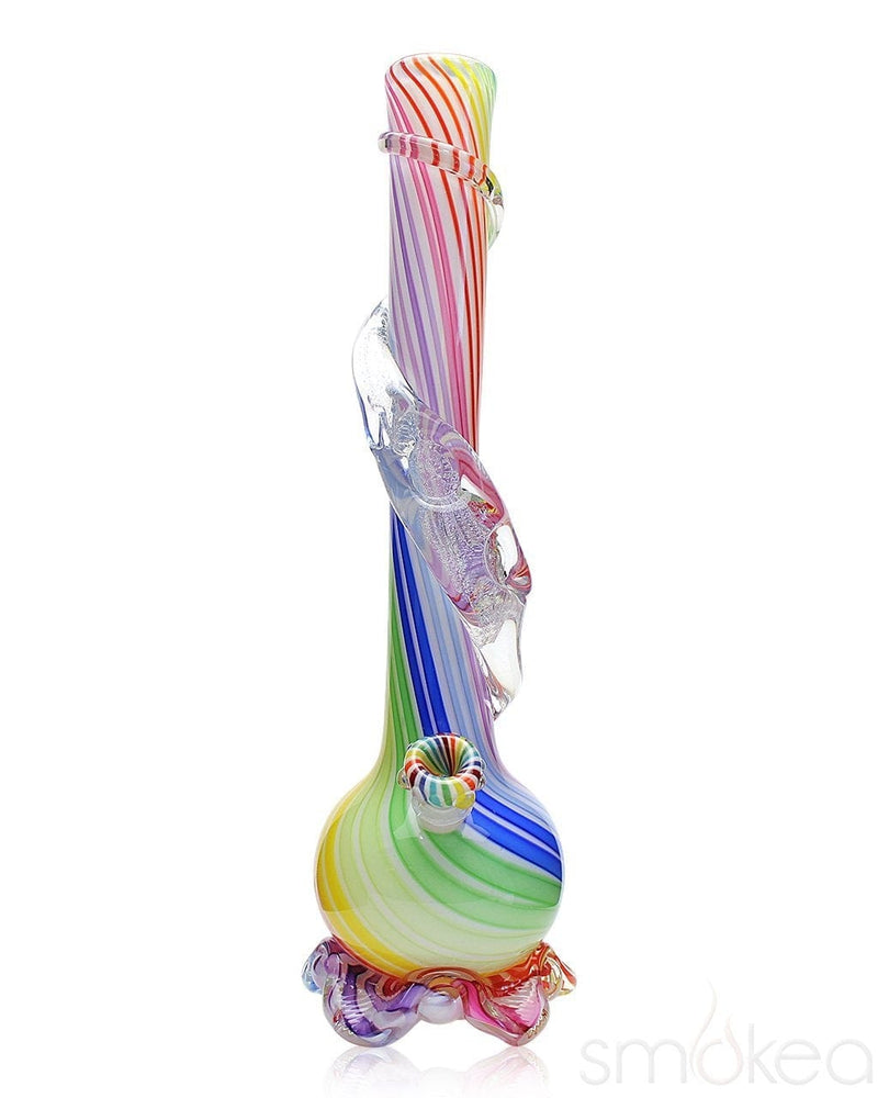 Noble Glass Medium Rainbow Cane Wrapped Soft Glass Bong - SMOKEA