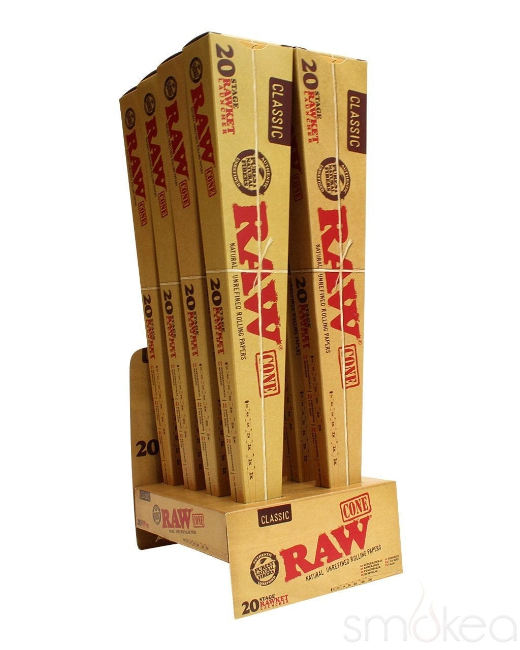 Raw 20 Stage Rawket Pre-Rolled Classic Cones - SMOKEA
