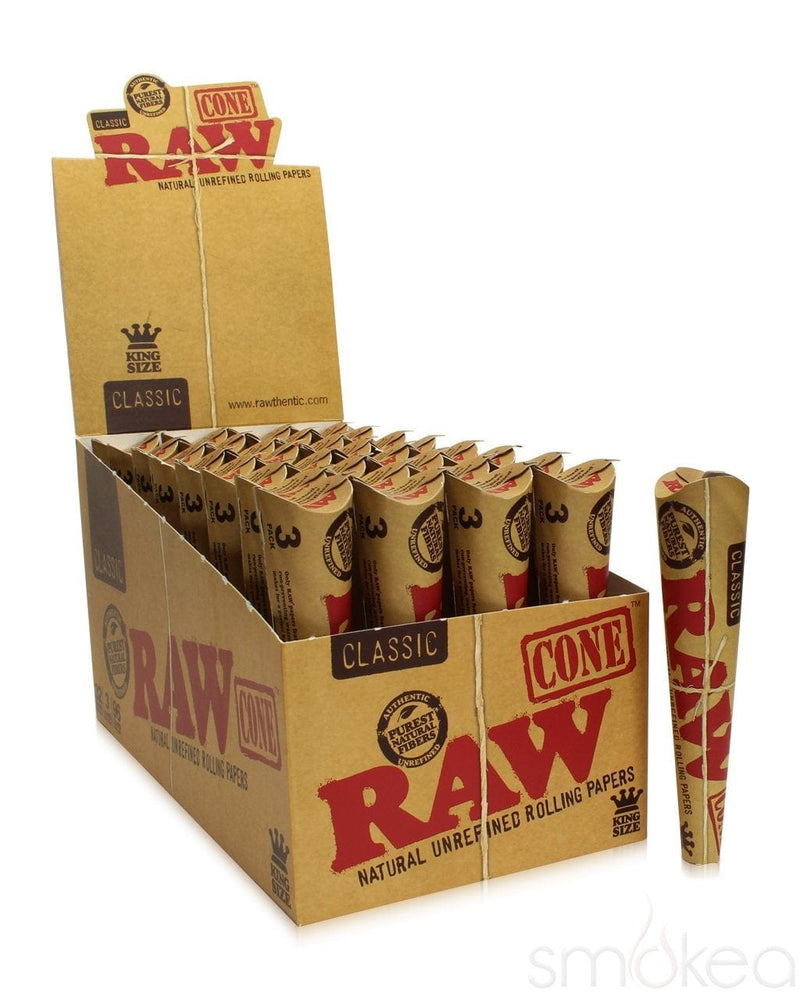 Raw Classic King Size Pre-Rolled Cones (3-Pack) - SMOKEA®