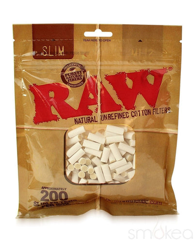 Raw Natural Unrefined Slim Cotton Filters (200-Pack) - SMOKEA