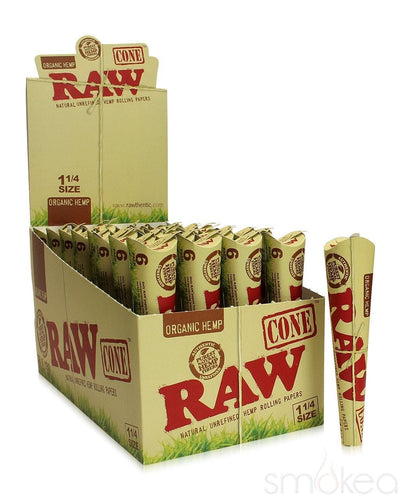 Raw Organic 1 1/4 Pre-Rolled Cones (6-Pack) - SMOKEA