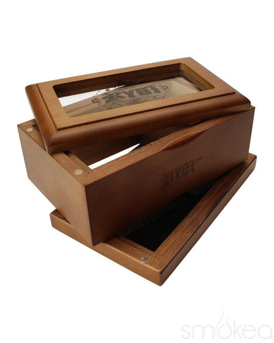 RYOT 3x5 Walnut Glass Top Box - SMOKEA