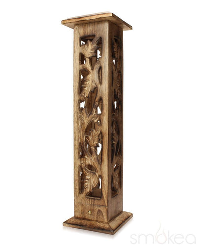"SMOKEA 12"" Carved Wood Incense Burner Tower - SMOKEA"