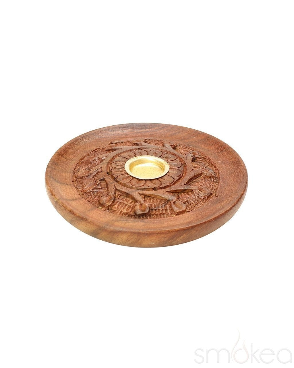 "SMOKEA 4"" Round Carved Wood Incense Burner - SMOKEA"