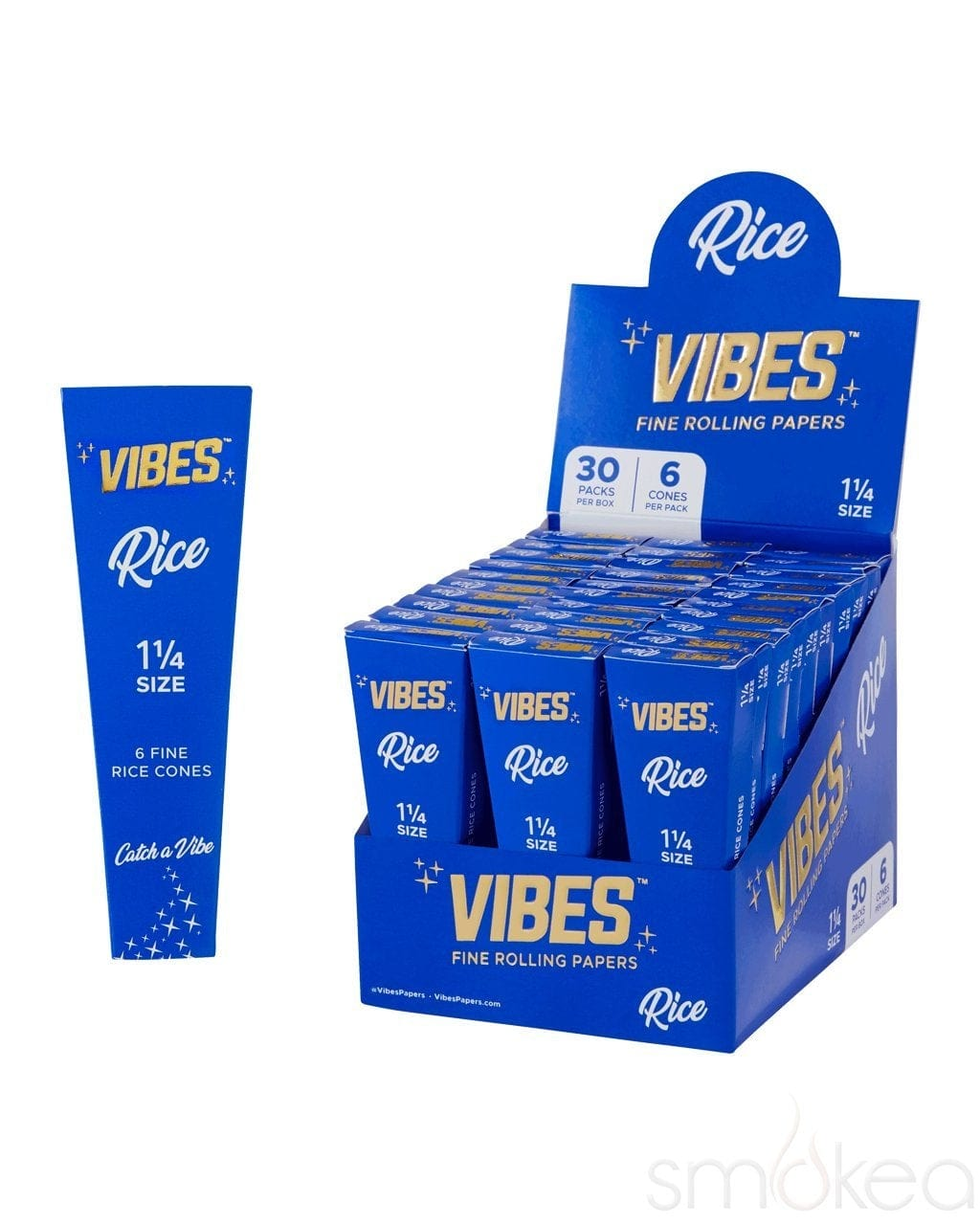 Vibes 1 1/4 Rice Pre Rolled Cones (6-Pack) - SMOKEA