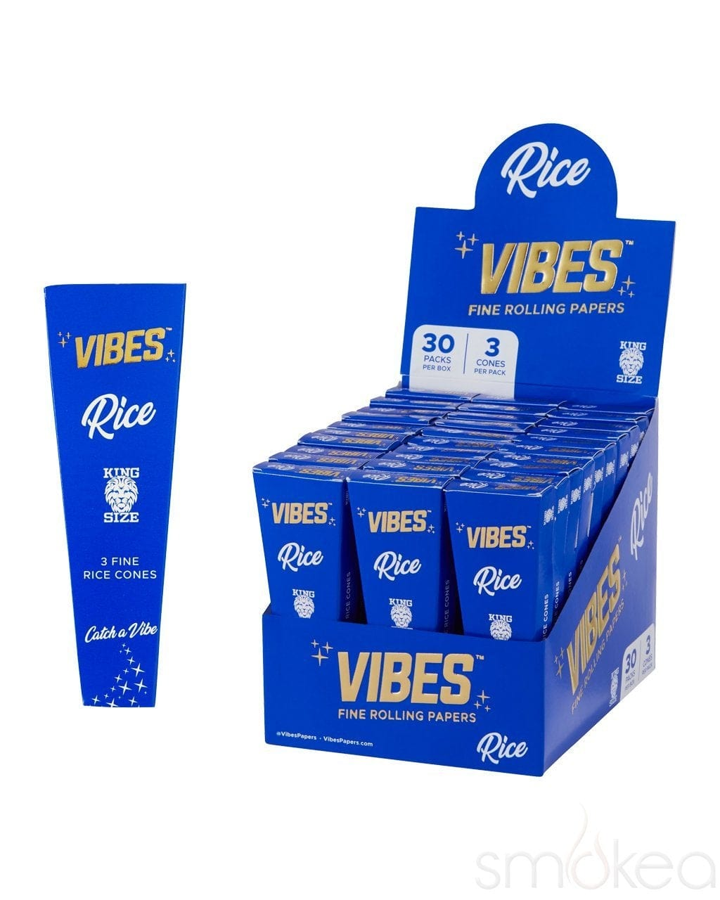 Vibes King Size Rice Pre Rolled Cones (3-Pack) - SMOKEA
