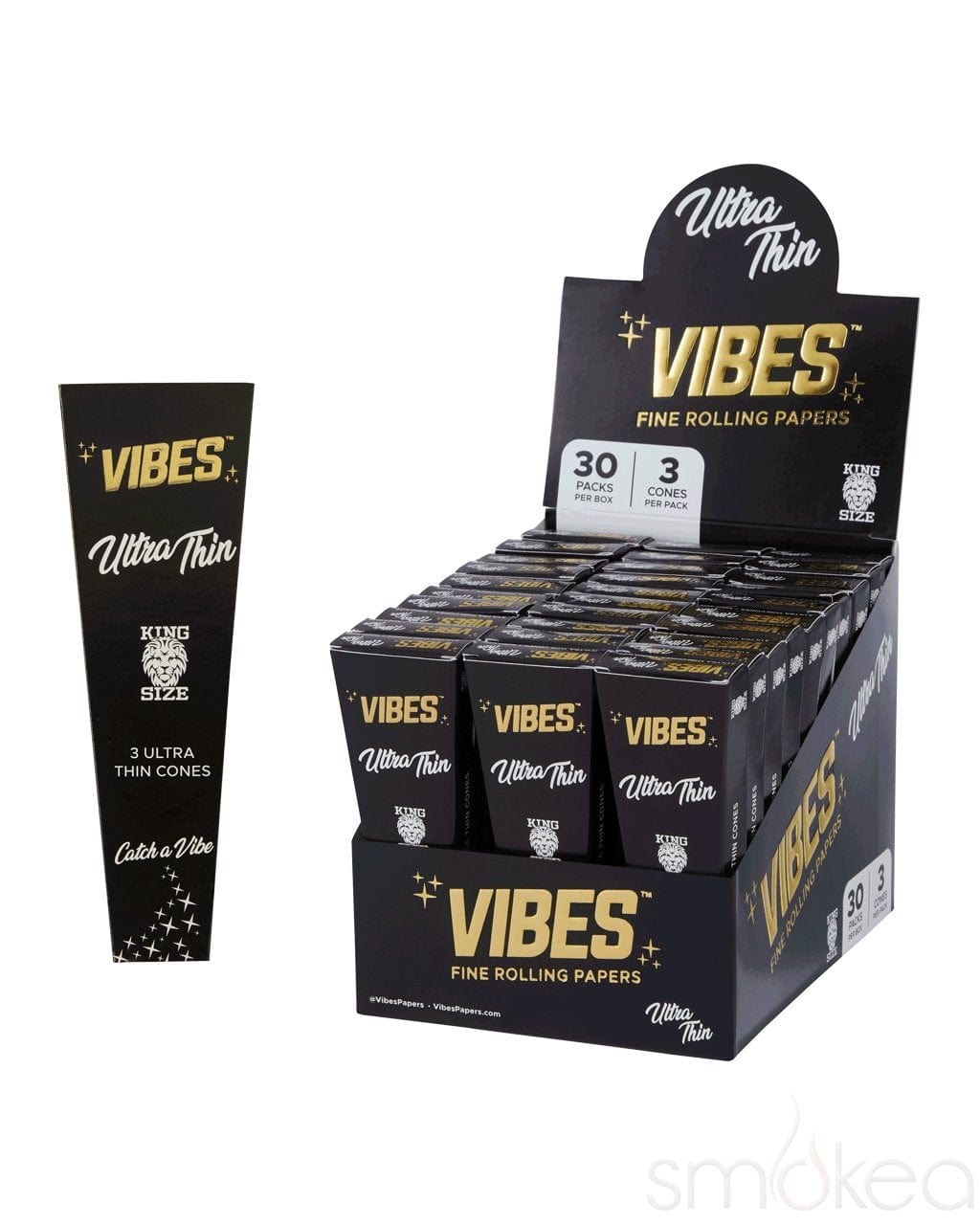 Vibes King Size Ultra Thin Pre Rolled Cones (3-Pack) - SMOKEA