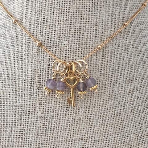 Birthstone Charm Necklace - amethyst