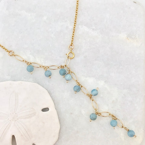 Newport Dainty Y Necklace ~ Aquamarine