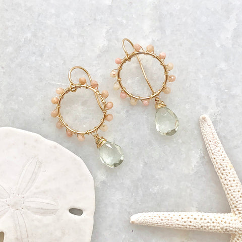 Daisy Earrings ~ green amethyst & pink opal