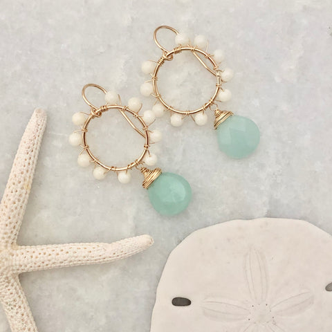 Daisy Earrings - Amazonite & white coral