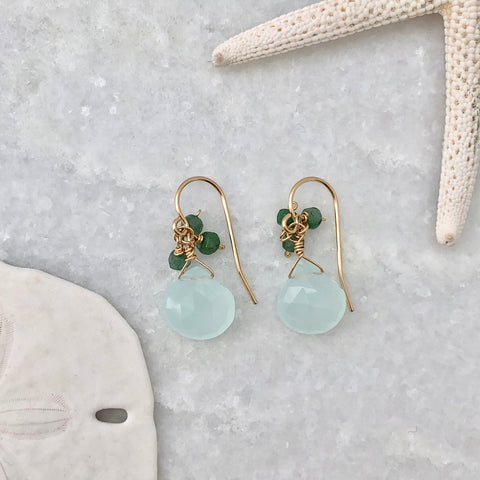 Aqua & Emerald Custer Earrings