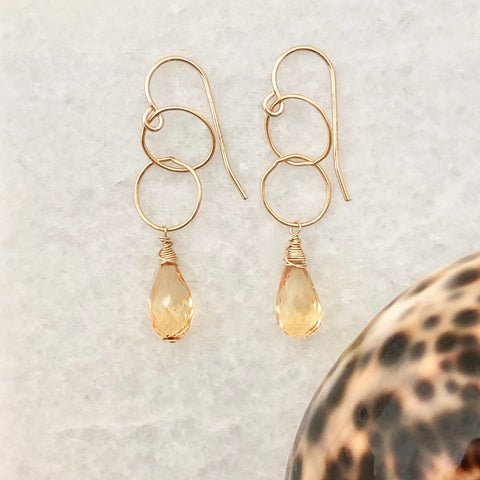 Milano Double Loop Earrings ~ Citrine