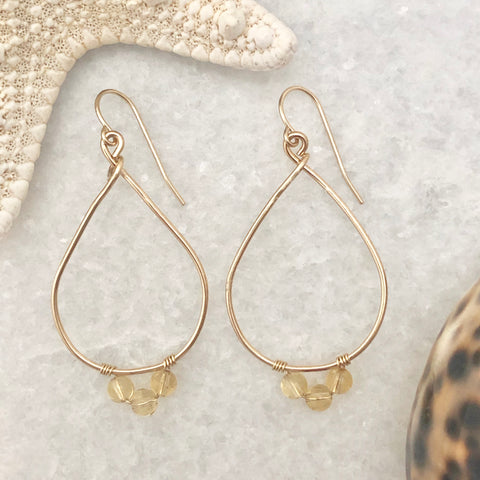 Sun Goddess Teardrop Hoop Earrings ~ Citrine