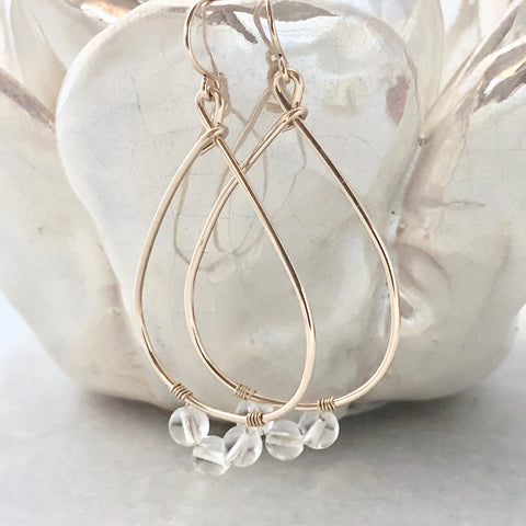 Crystal quartz teardrop hoop earrings - Captiva Teardrop Hoops