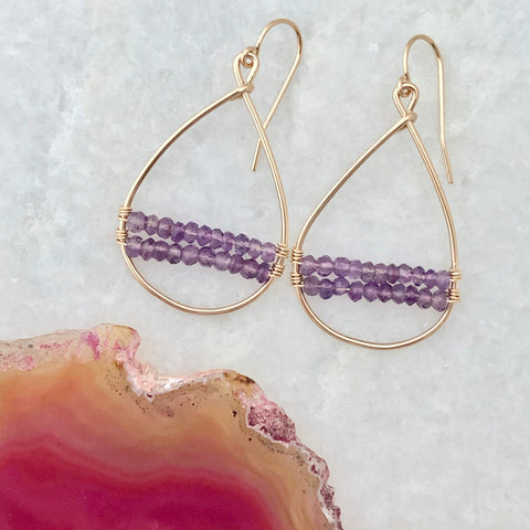 Amethyst Woven Hoop Earrings
