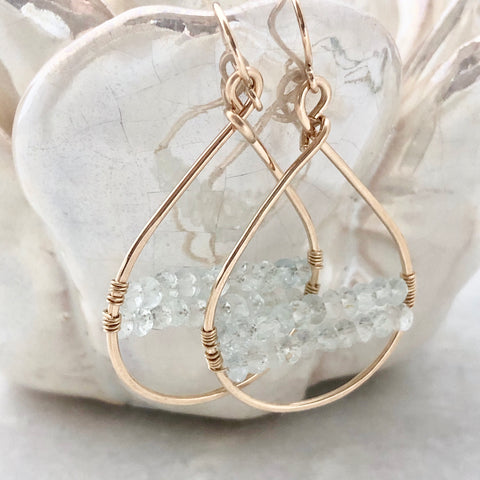 Nantucket Woven Hoop Earrings ~ Aquamarine