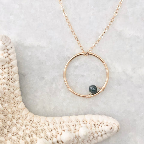 Blue Diamond Circle Necklace - 14k solid gold