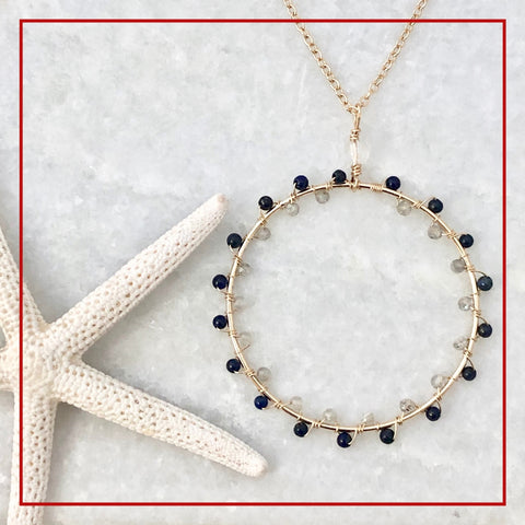 Zigzag circle necklace