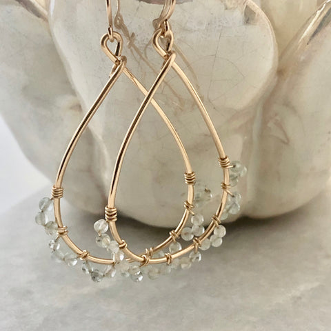 Jasmine Hoop Earrings - aquamarine