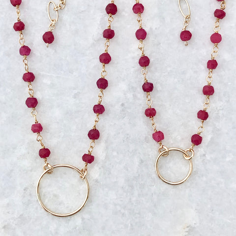 big and little circle necklaces - mother-daughter jewelry