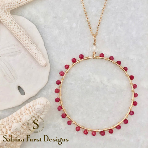 Ischia Circle Necklace ~ Ruby