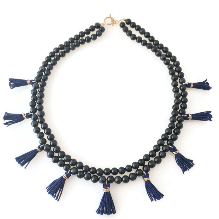 Mini Tassels Necklace - navy blue