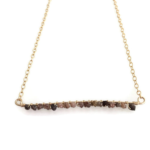 Raw Diamond Bar Necklace- chocolate