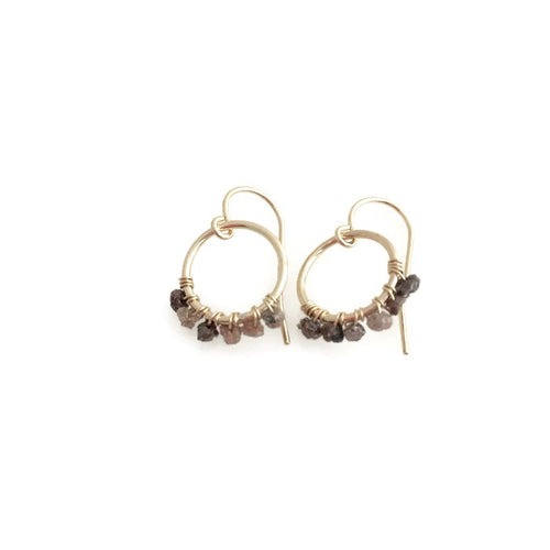 Raw Chocolate Diamond Wrapped Earrings