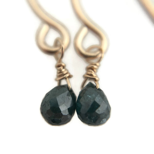 Tiny Ocean Blue Diamond Earrings