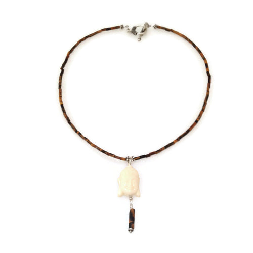 Buddha Necklace - tigers eye with ivory buddha