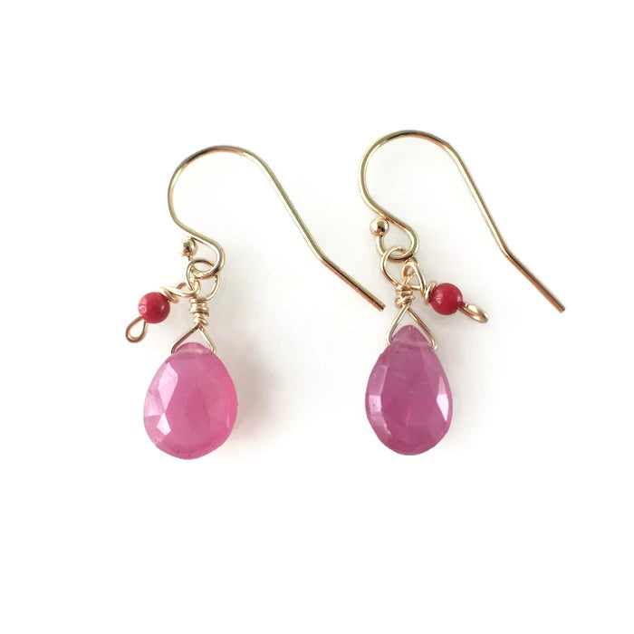 Tiny Pink Ruby Earrings