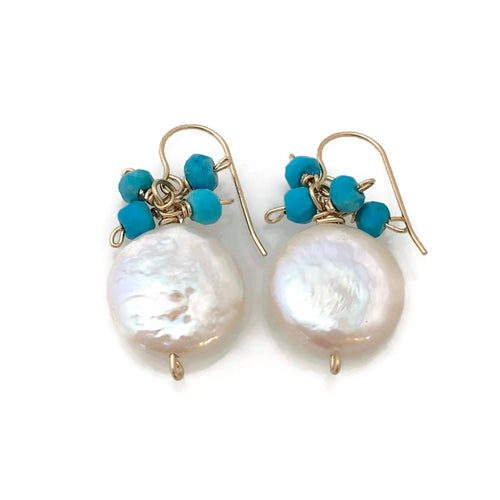 Tahiti Coin Pearl Earrings