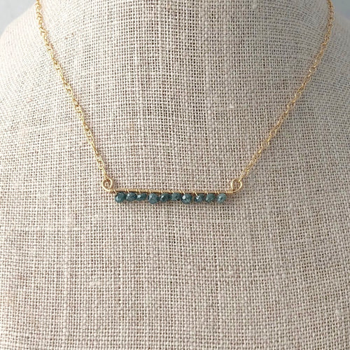 Ocean Blue Diamond Bar Necklace