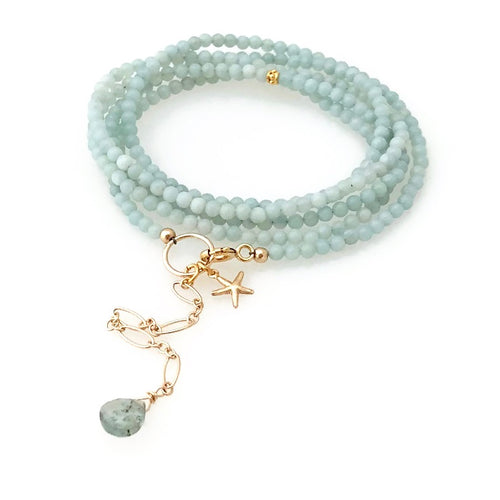 Nassau Gemstone Wrap Bracelet - Two in One (Amazonite)