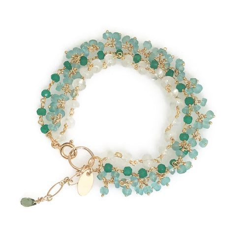 New! Triple Gemstone Cluster Bracelet