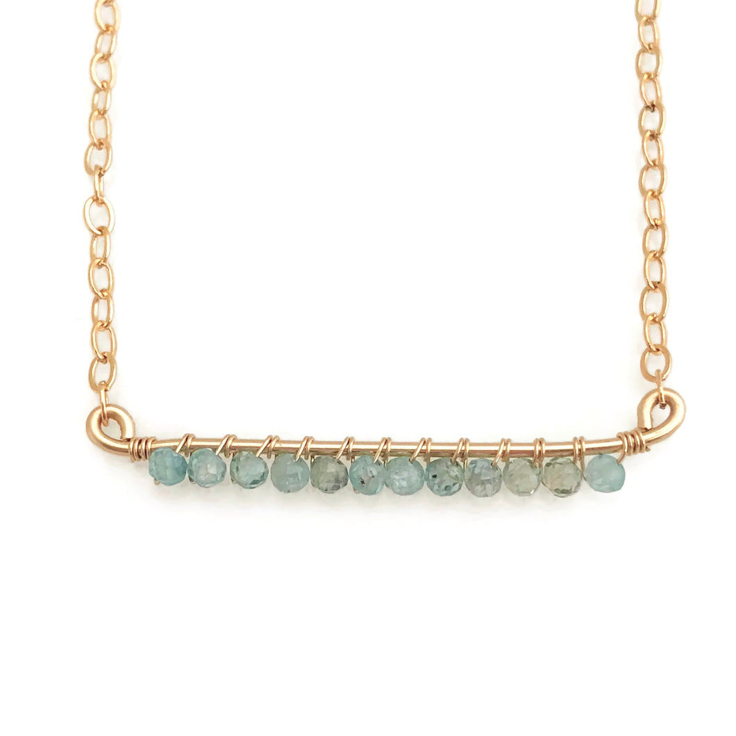 Ice Blue Zircon Bar Necklace