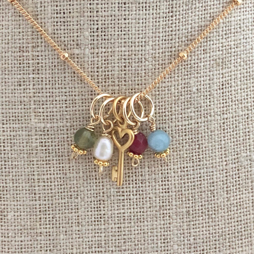 Birthstone Charm Necklace - Gold