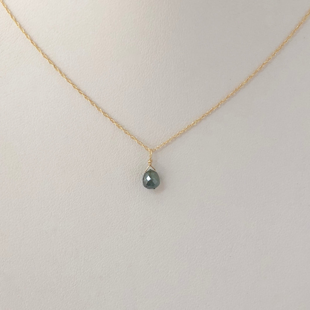 Ocean Blue Diamond Drop Necklace