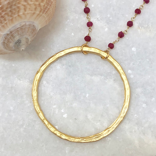 Organic Circle Necklace - Matte Gold