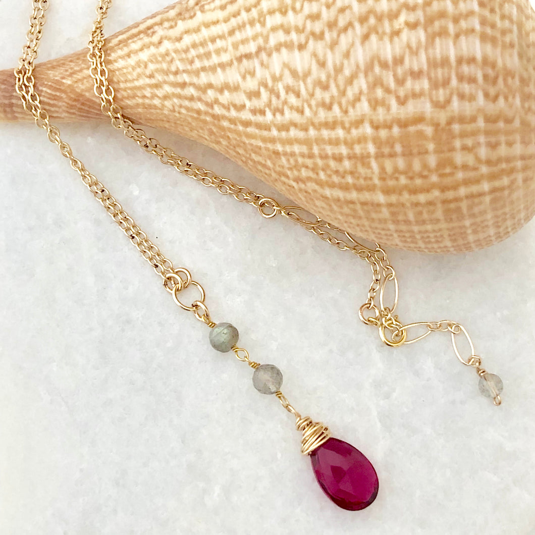 India Y Necklace ~ rubellite & labradorite